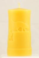 Bienenwachskerze mit Katzen - 6 cm x 11,5 cm