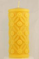 Stumpenkerzen mit Barock-Motiv aus 100% Bienenwachs 7 cm x 15,5 cm